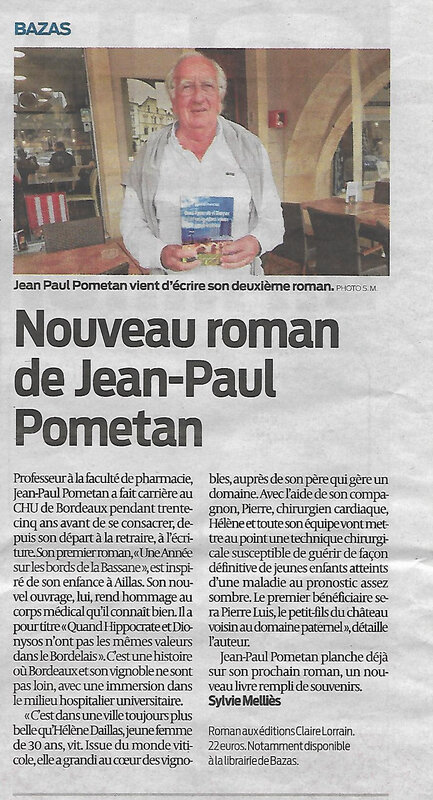 Le nouveau roman de Jean-Paul Pométan