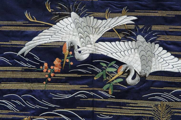 Fukusa of cranes and golden tortoise (detail)