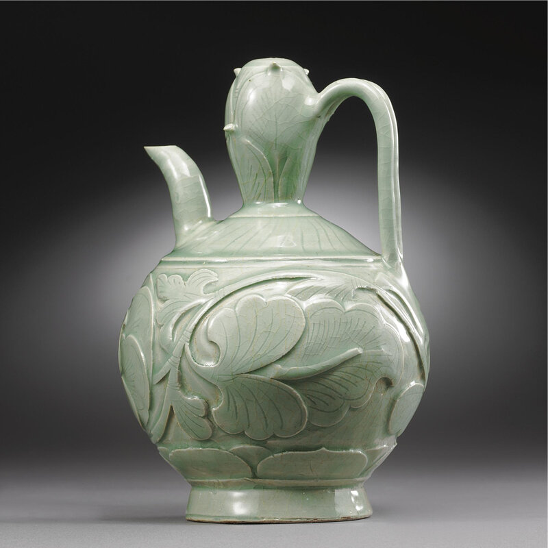 A Magnificent early 'yaozhou' ('Tongyao') carved double-gourd ewer, Northern Song Dynasty (960-1127)