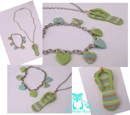 Ensemble pendentif tong et bracelet coeurs pastel
