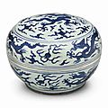 A blue and white 'dragon' box and cover, Jiajing six-character mark in underglaze blue within a double circle and of the period (1522-1566)