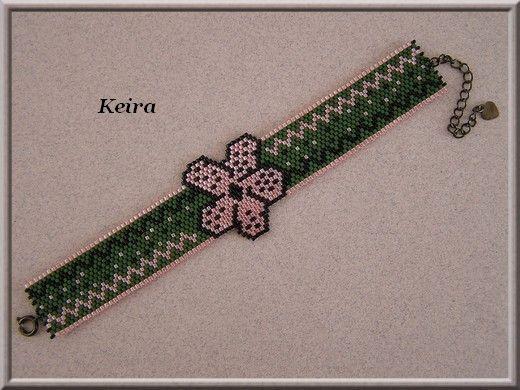 Manchette fleurs & zigzag