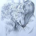 Tanja Askani et loup Grand Prédateur Dessin Ghislaine Letourneur - Wolf Zeitung - Gray wolf design - Рисунок относительно серого волка Большой хищник - Desen de lup gri Mare vanator -