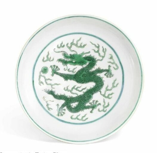 A fine green-enamelled 'Dragon' dish, Daoguang six-character seal mark in underglaze blue and of the period (1821-1850)