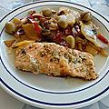 Pavés de saumon et fricassée de légumes aux olives vertes