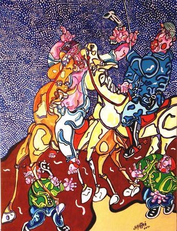 MATTEI Etude pour Don Quichotte et la grande bataille 2010 65 x 50