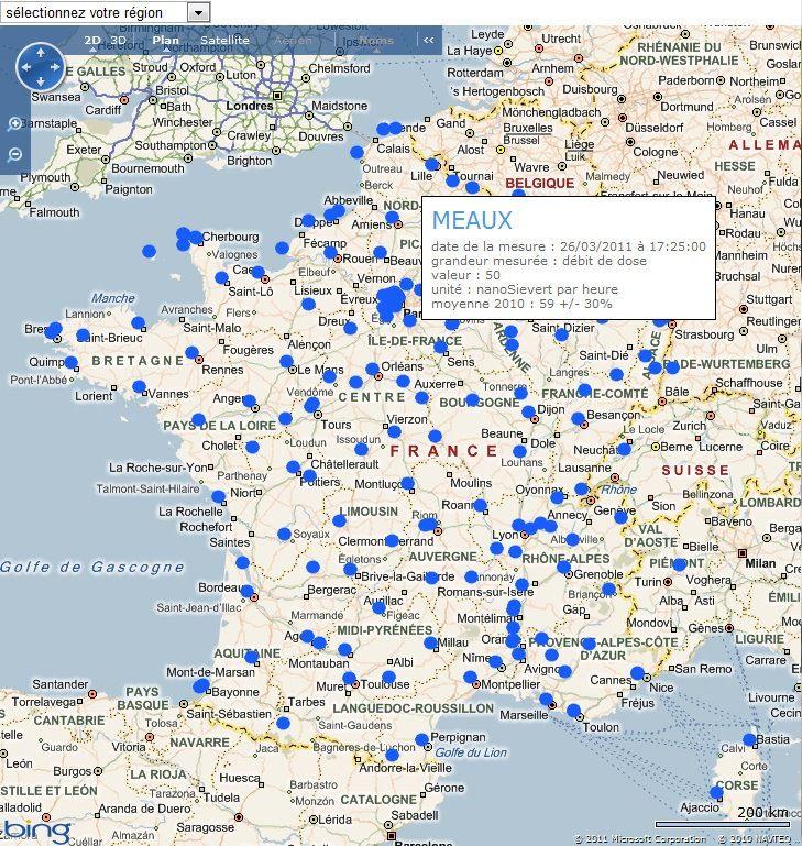 IRSN - Surveillance de la radioactivité de l'air en France - Données du réseau Téléray - Google Chrome 26032011 191622