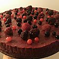 Mousse de fruits rouges sur génoise