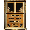 A louis xvi ormolu-mounted ebony and japanese black and gilt lacquer secrétaire à abattant. circa 1780, stamped twice m carlin