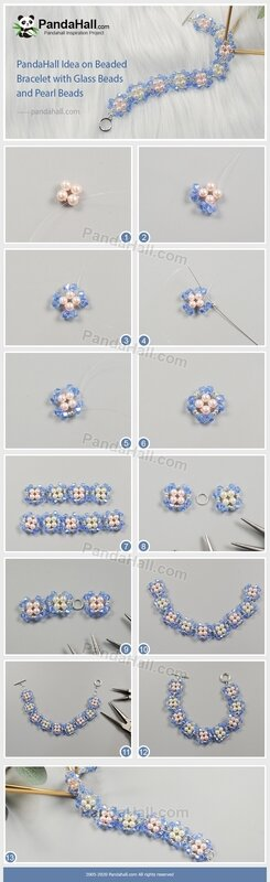 PandaHall Idea on Beaded Bracelet with Glass Beads and Pearl Beads(长)