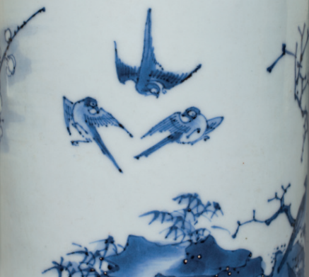A dated blue and white brush pot, Shunzhi period, dated 1654 3