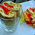 Wrap de poulet au curry, poivron et tomate