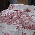 Veste BLANCHE en lin naturel imprimé toile de jouy rouge (1)