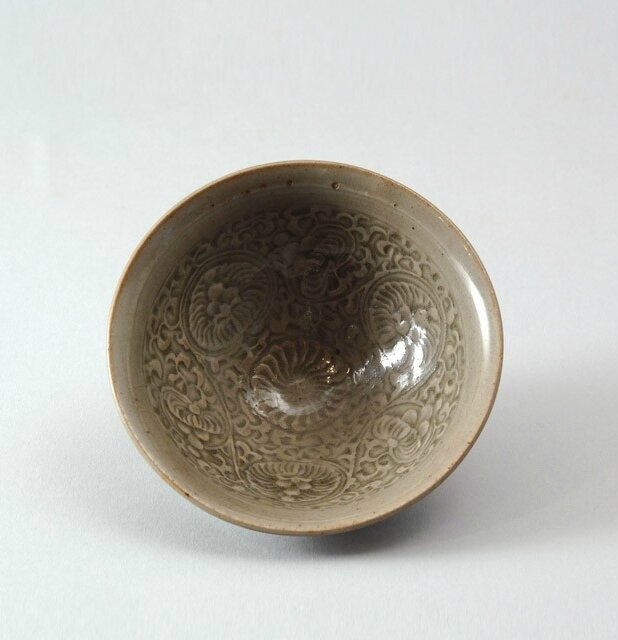 Greenware bowl with floral decoration, Yaozhou kilns, 12th - 13th century, Jin Dynasty (1115 - 1234)