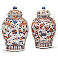 A very large pair of chinese imari jars and covers, kangxi period (1662-1722)