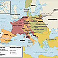 Europe 1812 during peak of Napoleonic Empire and showing major battles of Napoleonic wars