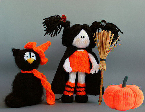 Traduction Black Cat In The Orange Hat – Young Witch And Pumpkin – Tetyana Korobkova