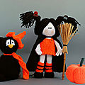 Black cat in the orange hat – young witch and pumpkin – tetyana korobkova