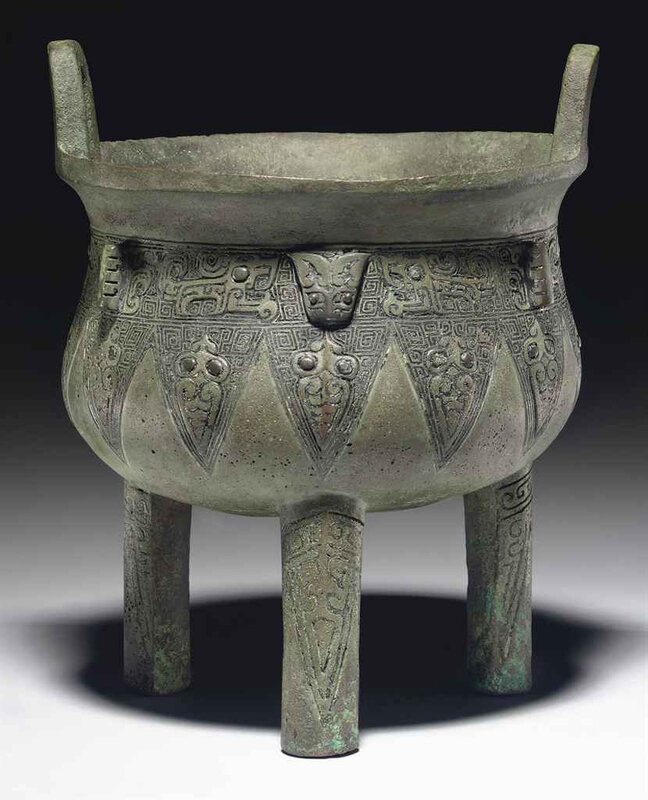 A small bronze ritual tripod food vessel,ding, Late Shang dynasty, 12th-11th century BC