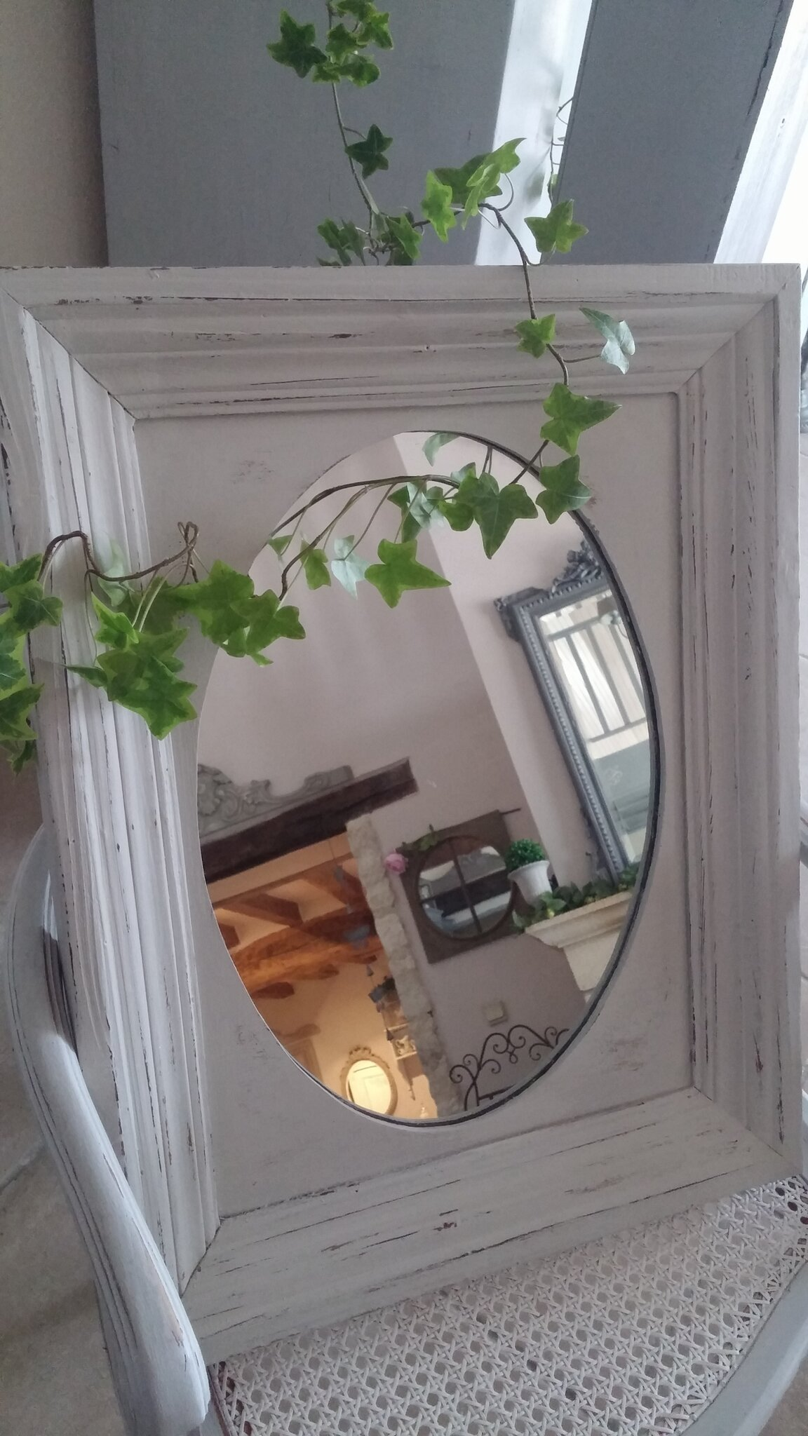 Miroir patiné en lin et effet vieilli