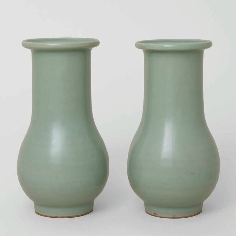 Pair of Longquan Celadon Vases, Southern Song Dynasty, 1127-1279 A