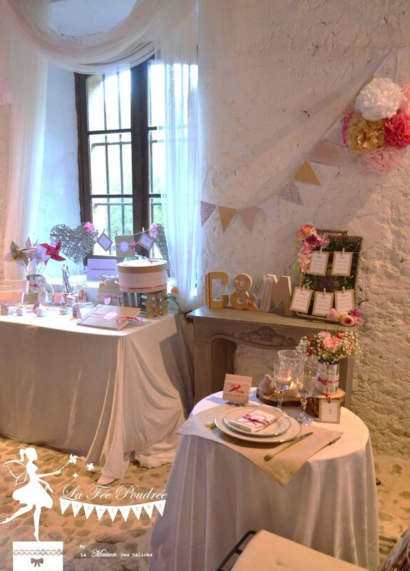 decoration mariage theme shabby chic moulins menu marque place kraft dentelle ruban satin rose fuchsia liberty plan de table fanions