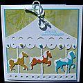 Carte d'anniversaire enfantine avec manège de chevaux