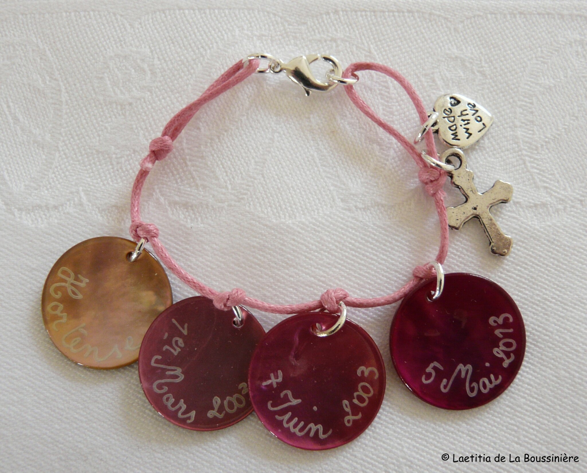 Bracelet de Communion (sur cordon fin rose) - 33 €