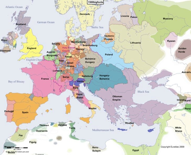 europe histoire carte an 1500