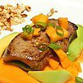 Foie gras poêle a la mangue .
