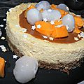 Un cheesecake qui met le cap sur le soleil: orange, cannelle, mangue et letchis...