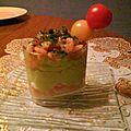 Crème d'avocat aux crevettes à la pomme la