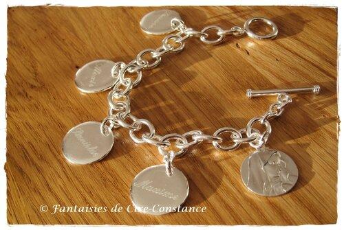 11 b 7.Bracelet argent massif T Vierge et prénoms gravés façon