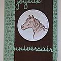 Carte d'anniversaire avec une tête de cheval et mini album