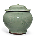 A large Longquan celadon jar and cover, Yuan-early Ming dynasty, 14th-15h century