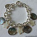 Bracelet sur chaîne plaqué argent ovale, médailles en nacre gravées et étoiles en nacre