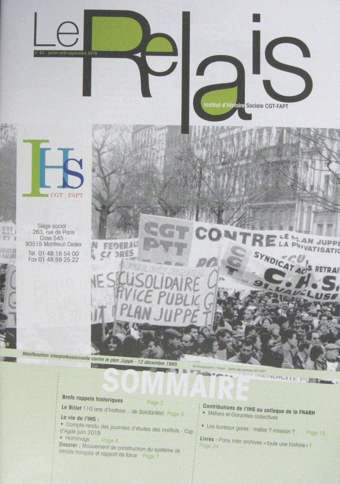 Le Relais n°83 aout-septembre 2019 est paru