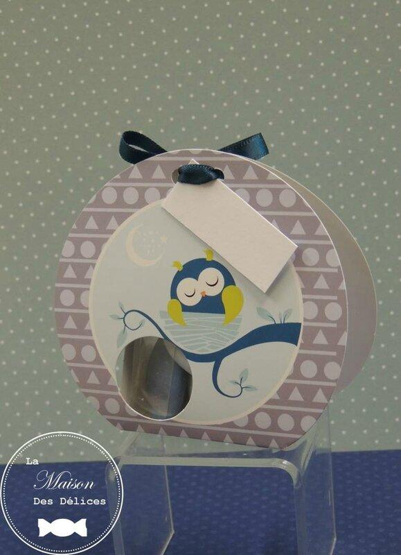 ballotin dragées baptême thème hibou chouette animaux forêt bleu canard gris teal ruban satin5