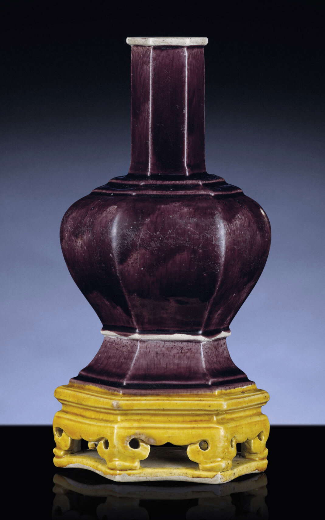 A rare aubergine and yellow glazed hexagonal vase, Ming dynasty, first half of 16th century