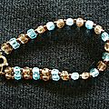 Bracelet double facettes Smoked topaz et Turquoise 1/2