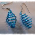2 paires de boucles d'oreilles en fil alu bleu