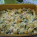 Gratin de pâtes au mascarpone, champignons, lardons