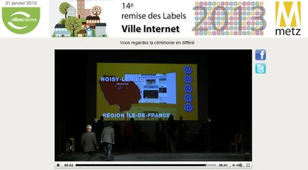 Noisy-le-Sec label Villes internet 2013 @@@@@ mention éducation (capture d'écran)