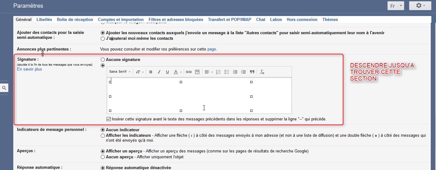 ajouter une image ou du texte dans une signature gmail