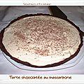 Tarte chocolatée, mascarpone et confit de fleurs d'oranger