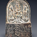 A rare small dark grey stone daoist stele, tang dynasty, dated by inscription to ad 719