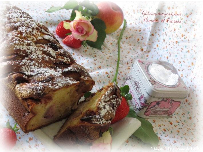 gâteau mascarpone pomme fraises