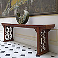 An outstanding huanghuali single-board recessed-leg long table with trellis panels, late ming-early qing dynasty