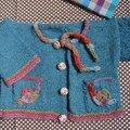 Gilet escargot en alpaga bleu pétrole, laine et modèle La Droguerie