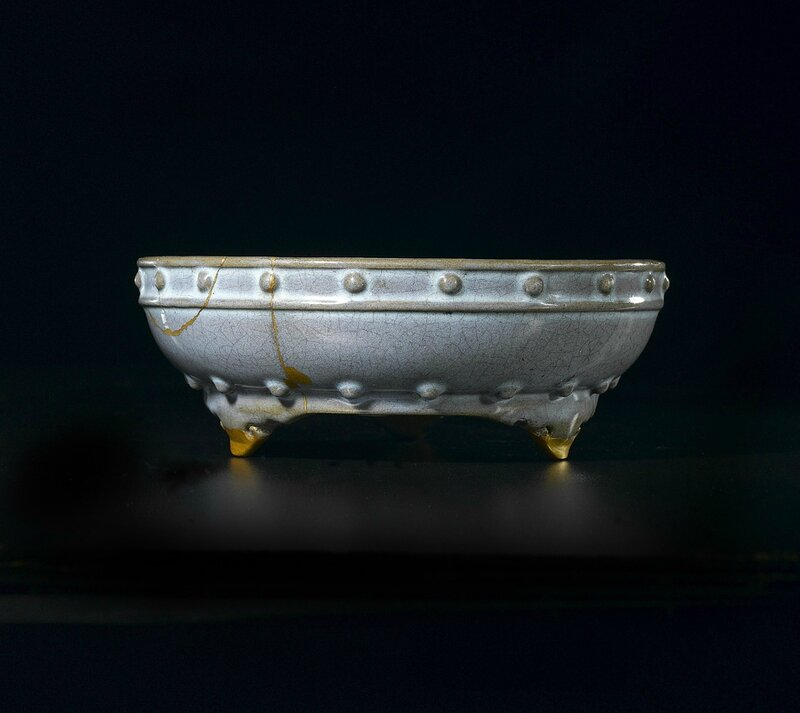 Rare Chinese Imperial Junyao Numbered Narcissus Bowl, Yuan-early Ming dynasty, the base incised er, two. Dimensions: (Diameter) 25 cm (10 in.). Provenance: Collection of Andrew Williams Esq., Oxfordshire. Photo courtesy Woolley & Wallis, Salisbury, Wiltshi